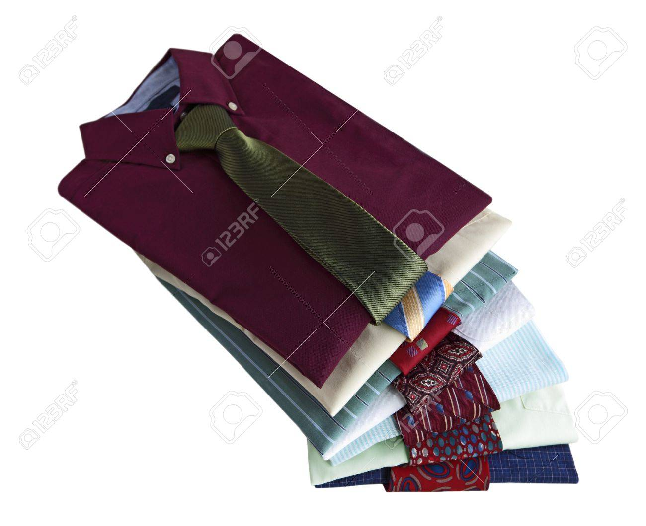 Pile of dress shirts with ties isolated on white background Stock Photo - 18967357