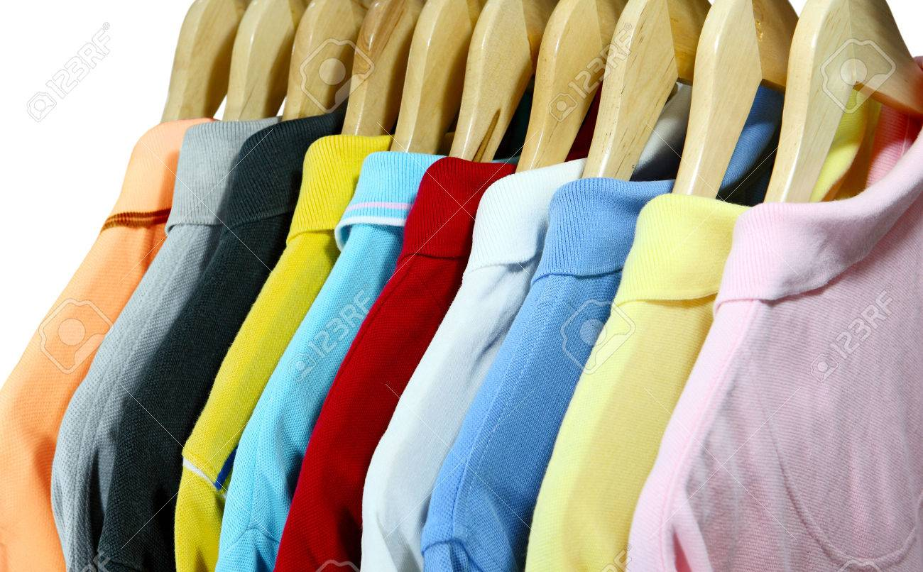 Colorful Polo Shirts For Men On Hanger Isolated Over White Stock ...