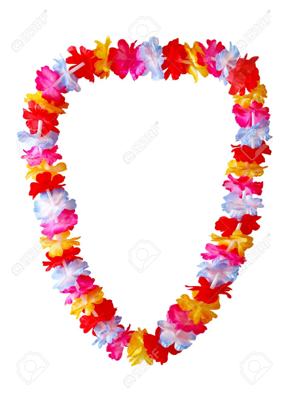 with a colorful hawaiian necklace lei flowers bright photo stock