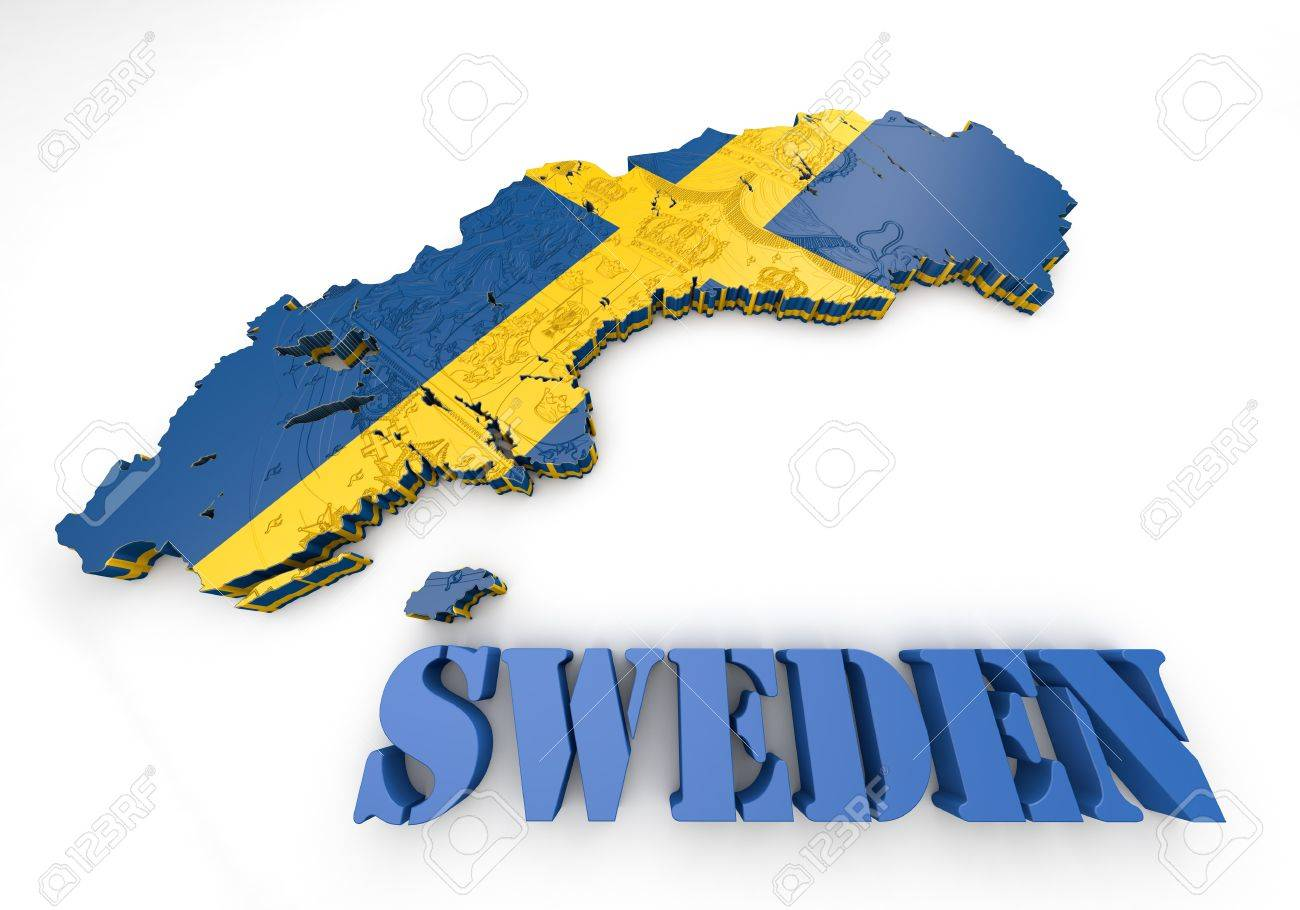 D Map Illustration Of Sweden With Flag Stock Photo Picture And - Sweden map flag