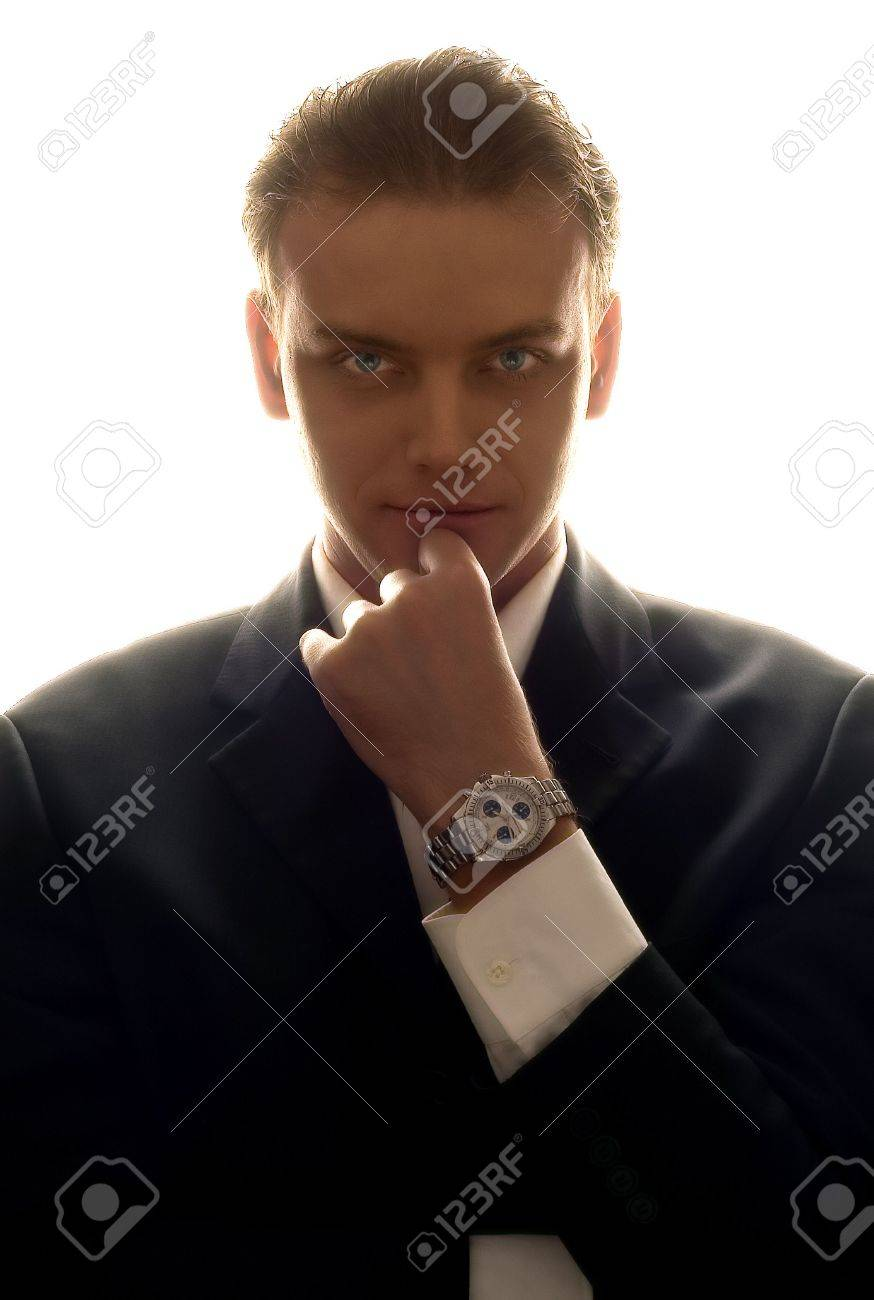 slihouette portrait of elegant business man Stock Photo - 408196