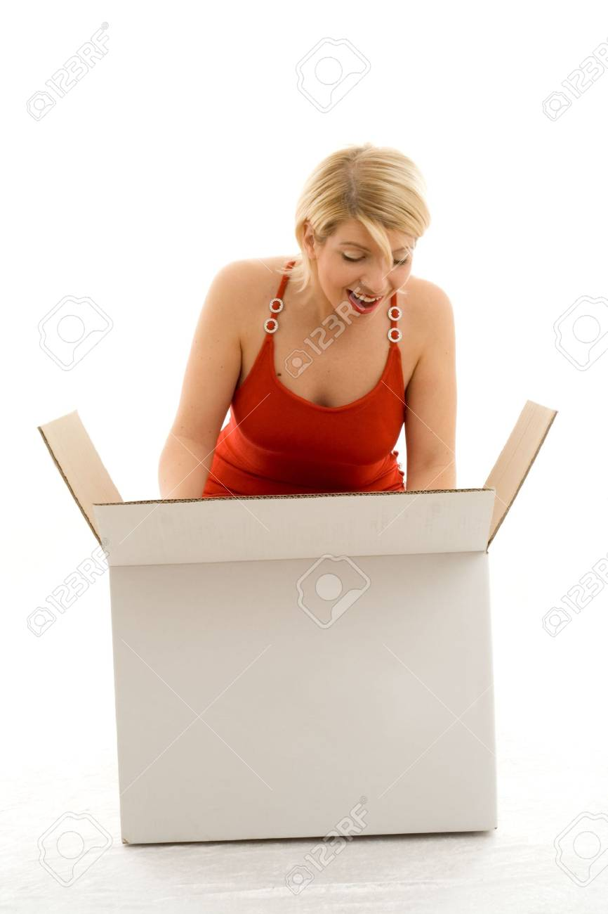 happy girl with white box Stock Photo - 476345