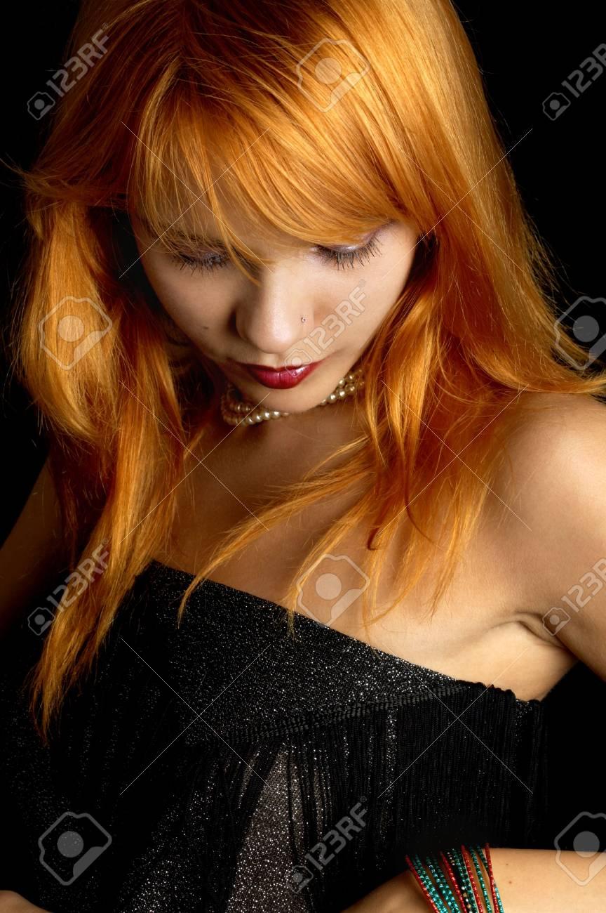 dark portrait of lovely redhead Stock Photo - 530801