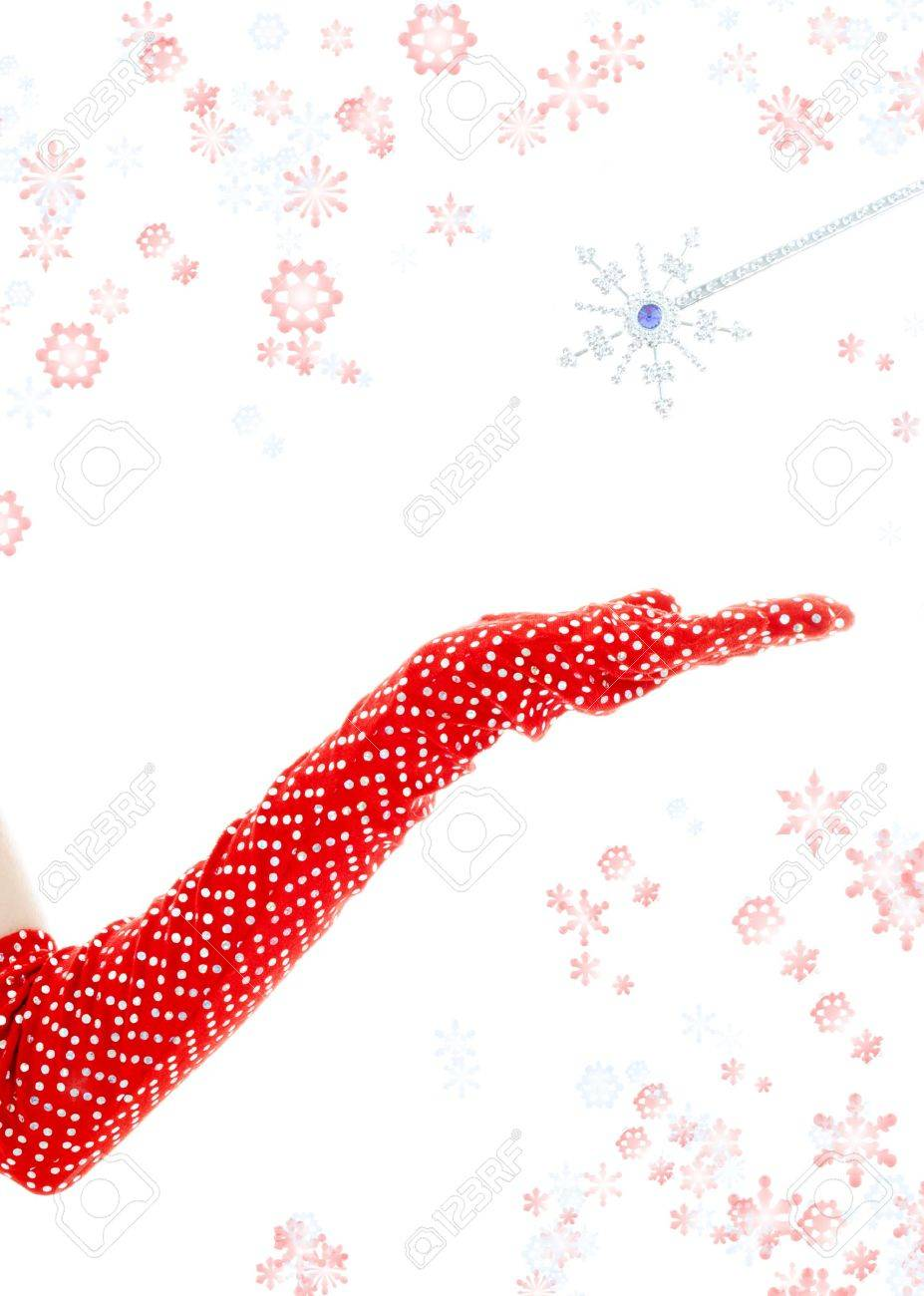 casting a spell with magic wand surrounded by rendered snowflakes Stock Photo - 634607