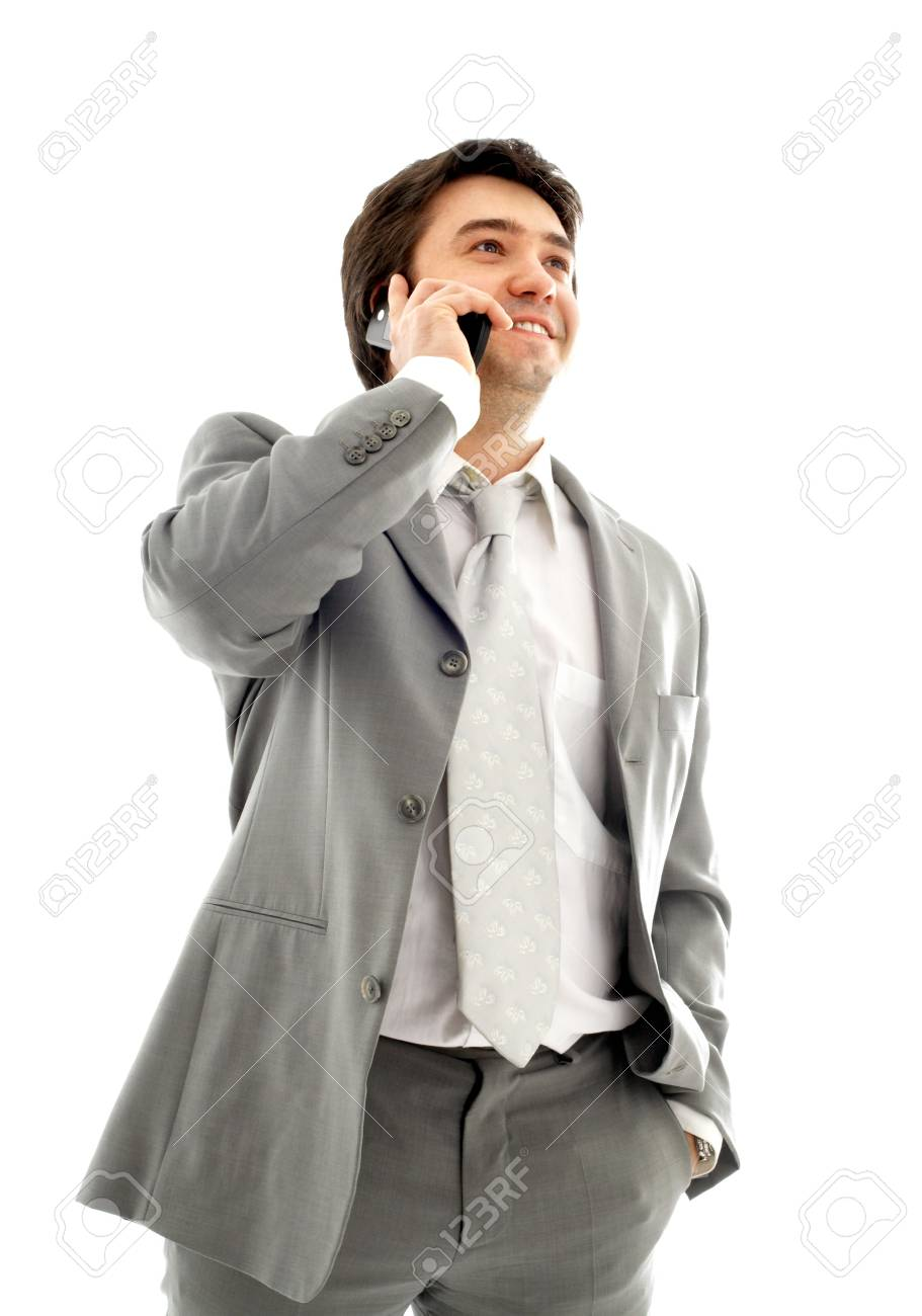 businessman with cellular phone in grey suit over white Stock Photo - 680346