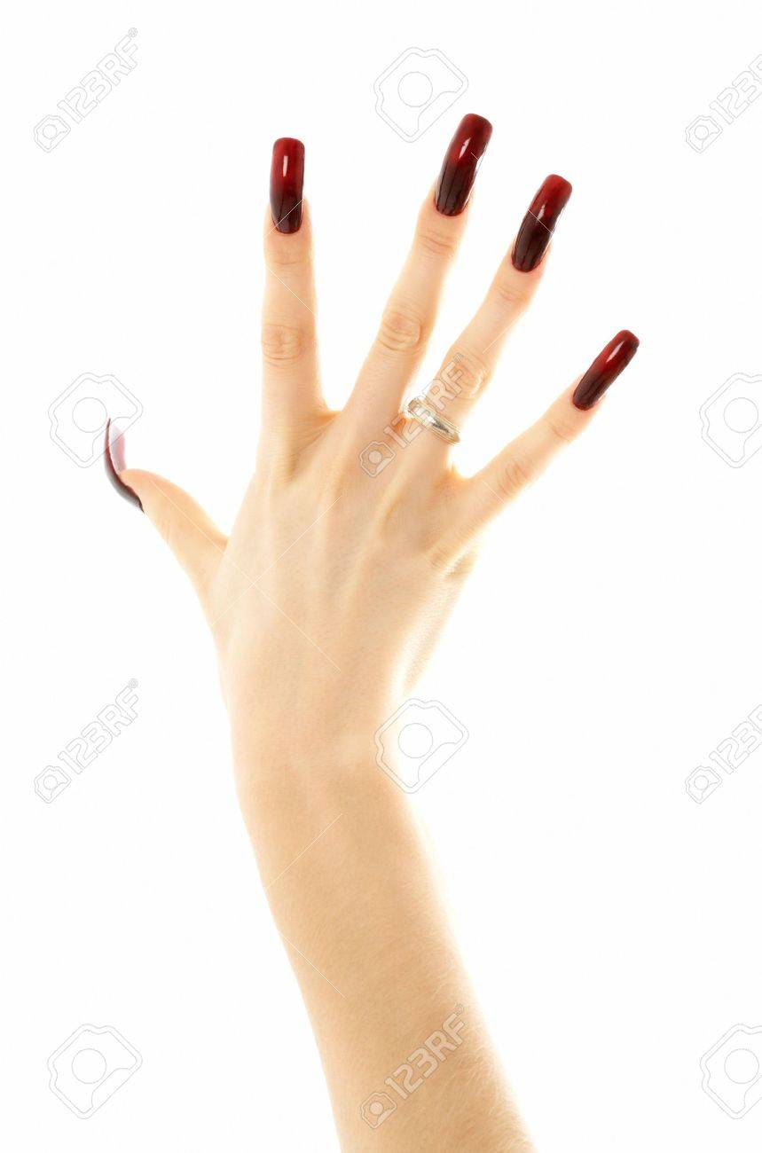 Hand With Long Acrylic Nails Over White Stock Photo, Picture And ...