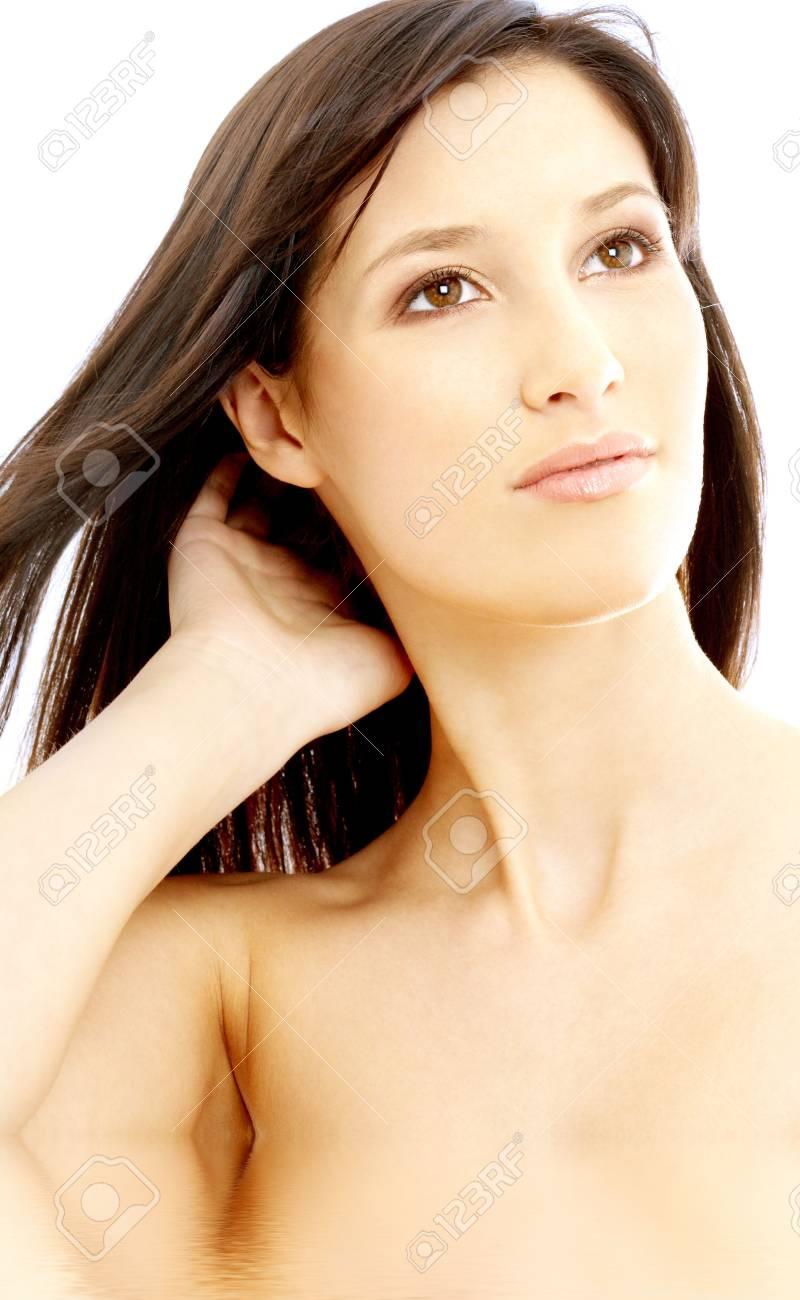 portrait of lovely topless brunette in water Stock Photo - 739137