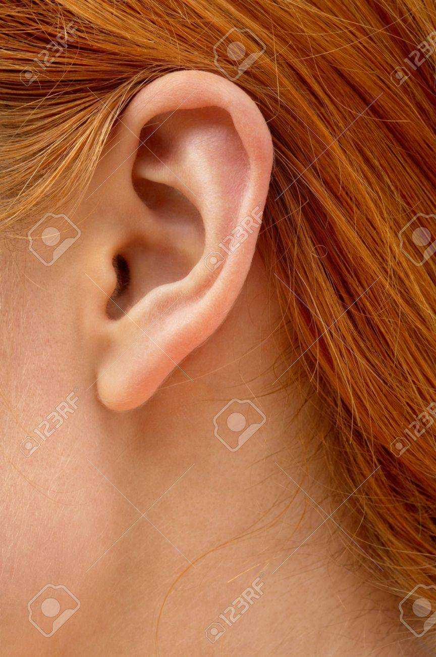 color closeup picture of redhead lady ear Stock Photo - 866035