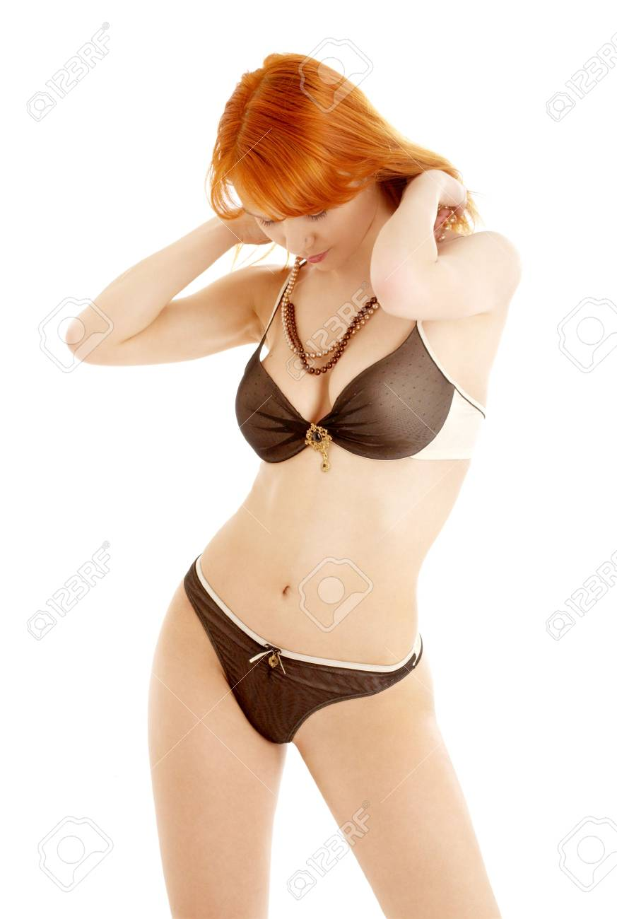 picture of fit redhead in black and white lingerie Stock Photo - 875026