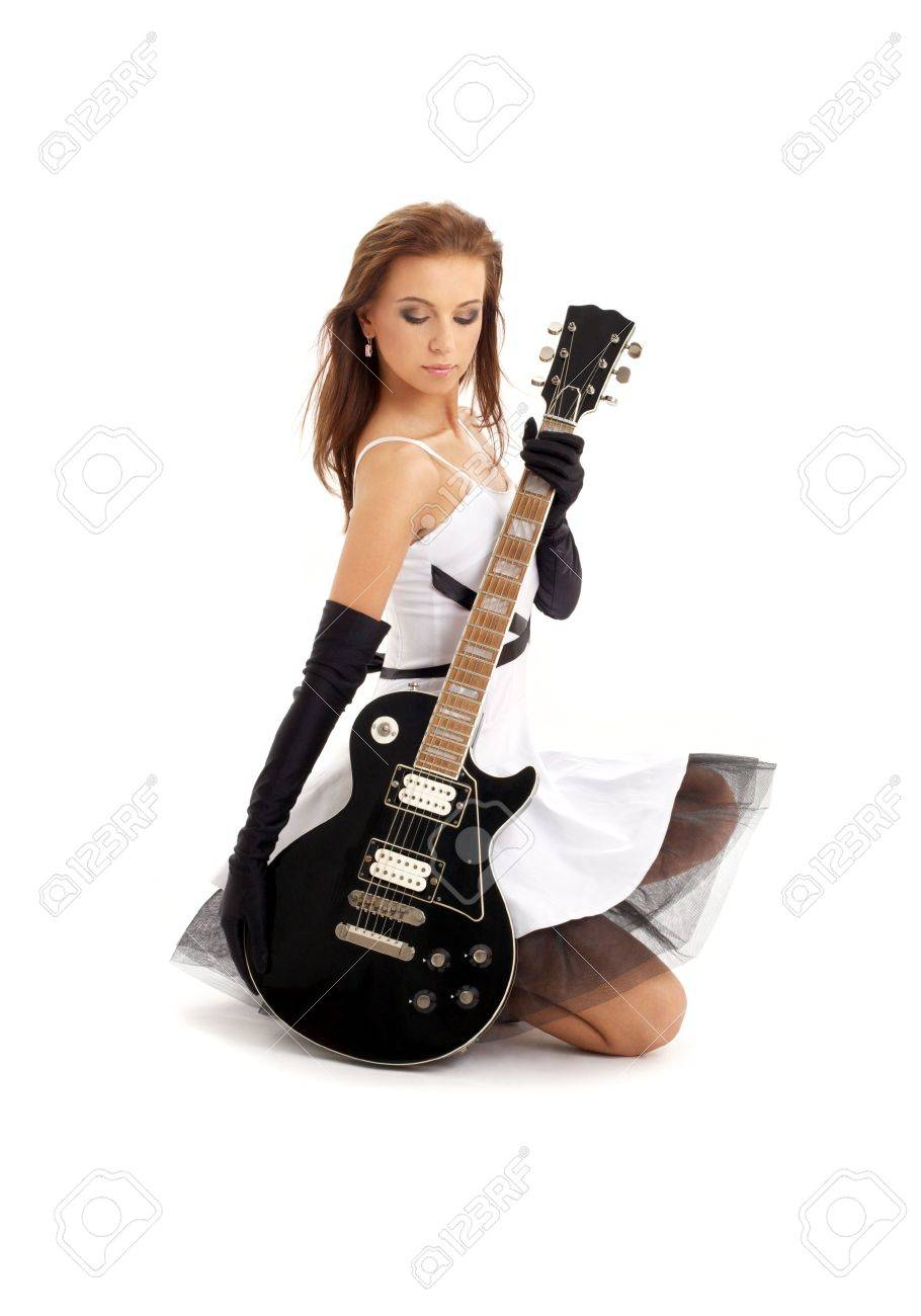 lovely girl with black guitar over white Stock Photo - 965465
