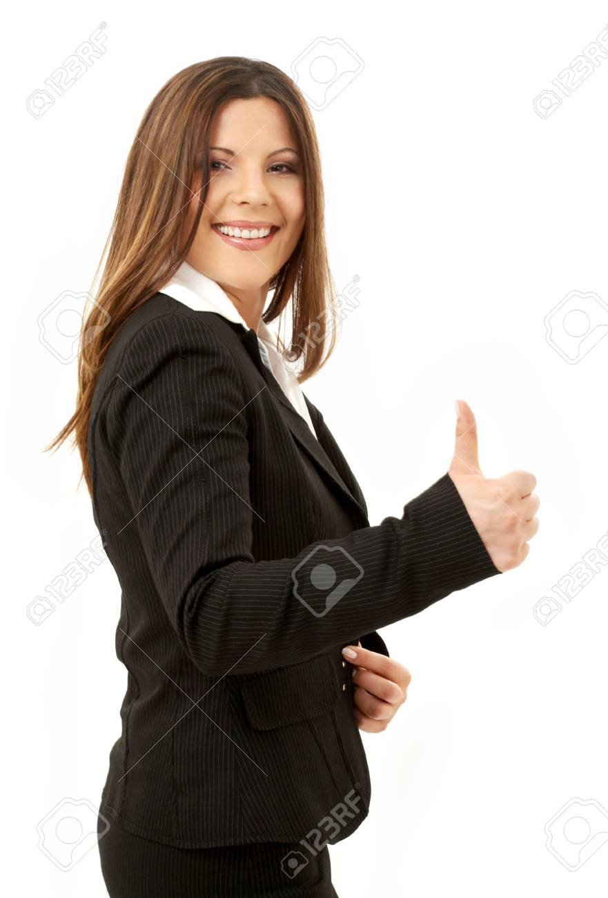 picture of happy successful businesswoman over white Stock Photo - 1068233