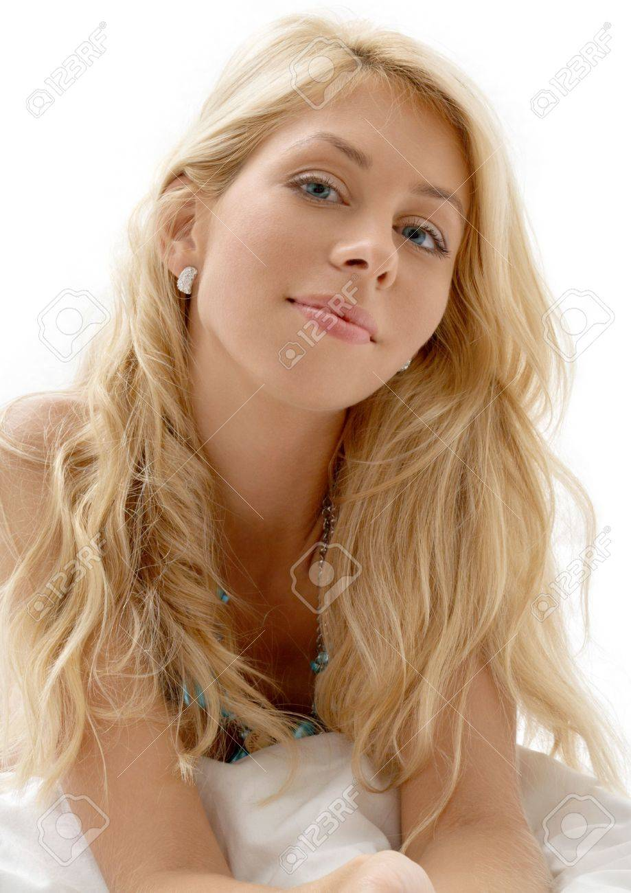 portrait of dreamy blond laying in bed Stock Photo - 1877736