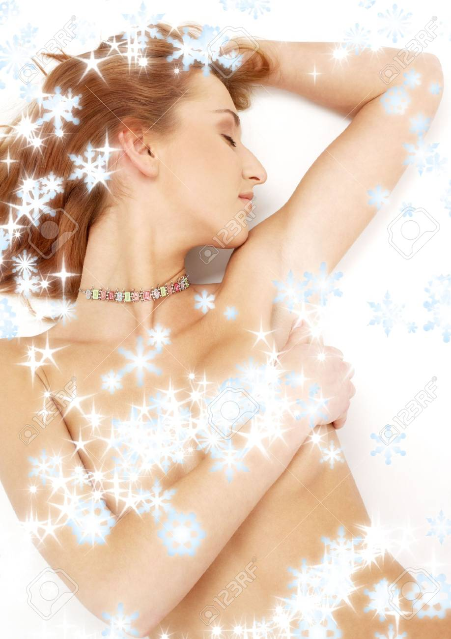 picture of sleeping redhead with colorful collar and snowflakes Stock Photo - 2080168