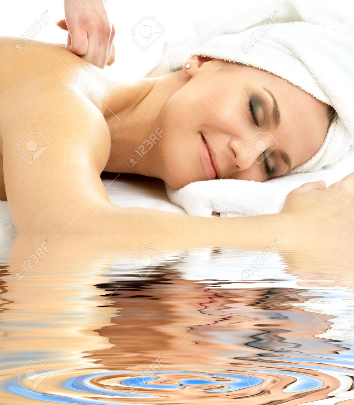 picture of lovely lady relaxing in massage salon Stock Photo - 3083912