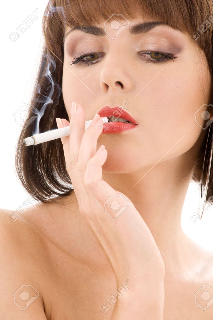 retro style picture of smoking lady with red lips Stock Photo - 3083928