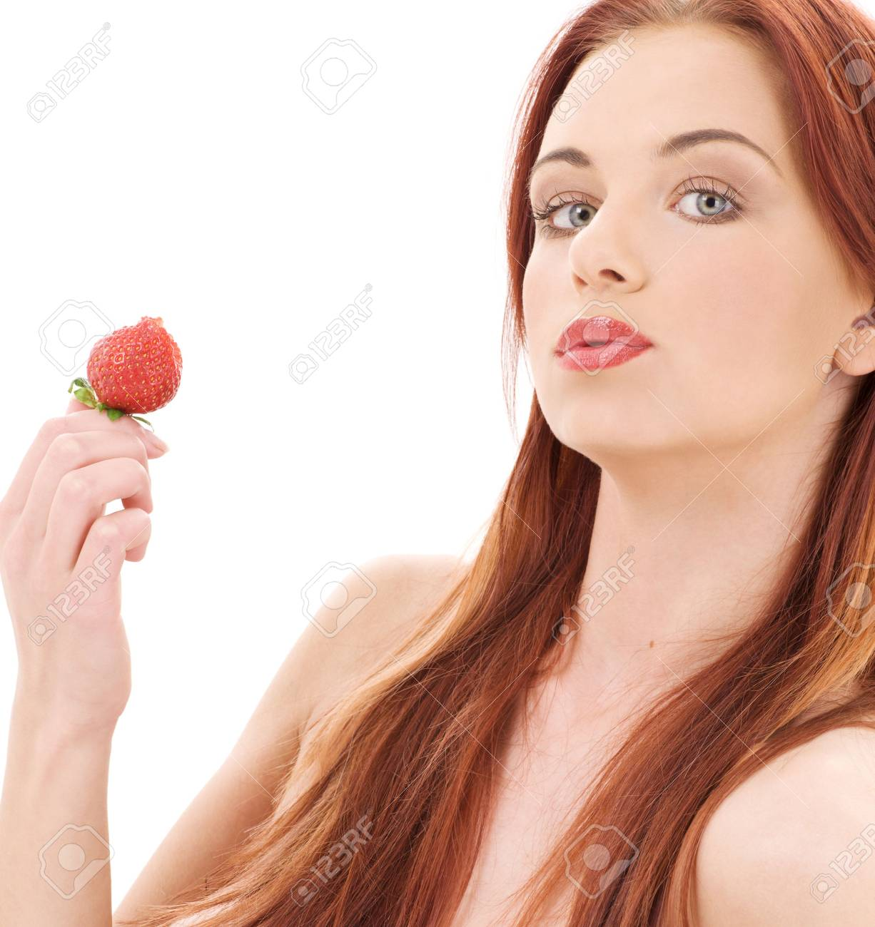 picture of lovely girl with strawberry over white Stock Photo - 3307670