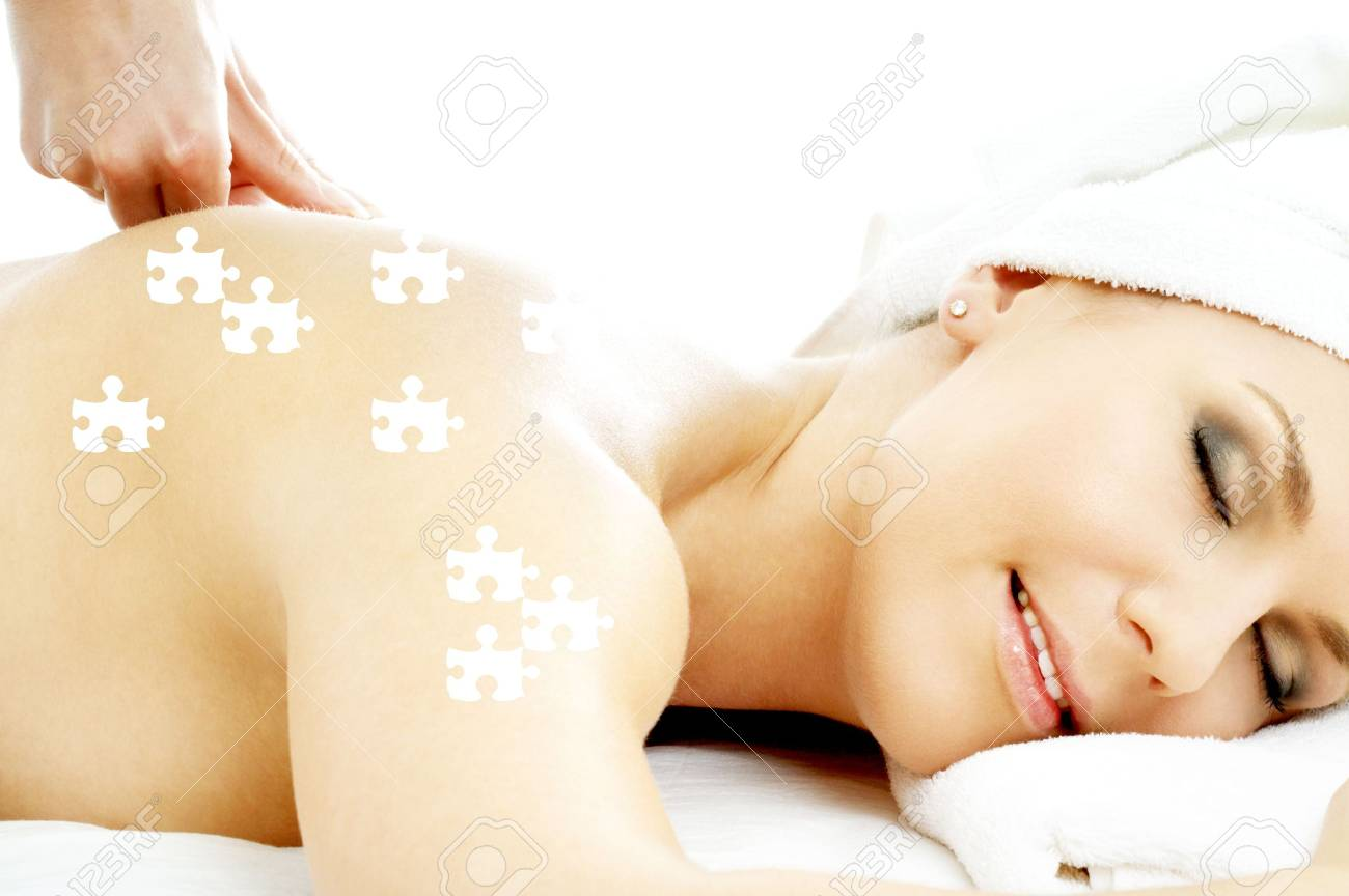 puzzle picture of lovely lady relaxing in massage salon Stock Photo - 3465195