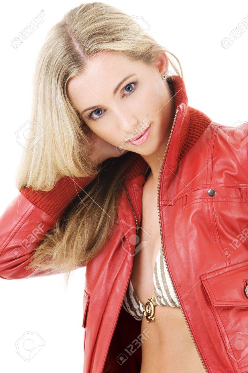 7a095074d lovely blonde in striped bikini and red leather jacket