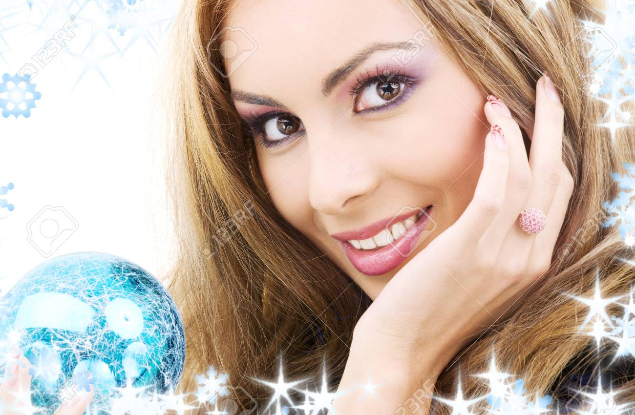 picture of happy woman with blue christmas ball Stock Photo - 3796709
