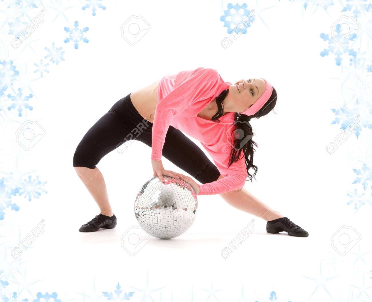 picture of dancer girl with glitterball and snowflakes Stock Photo - 3796769