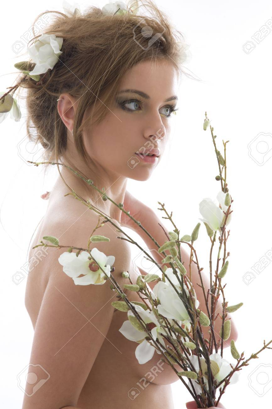 picture of lovely woman with white flowers Stock Photo - 3804267