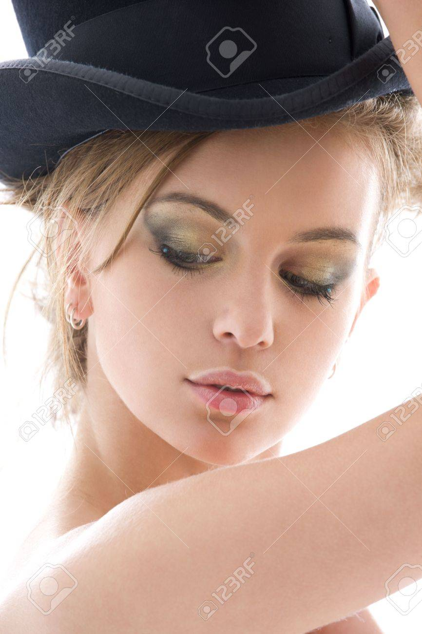 picture of seductive lady in top hat over white Stock Photo - 3804289