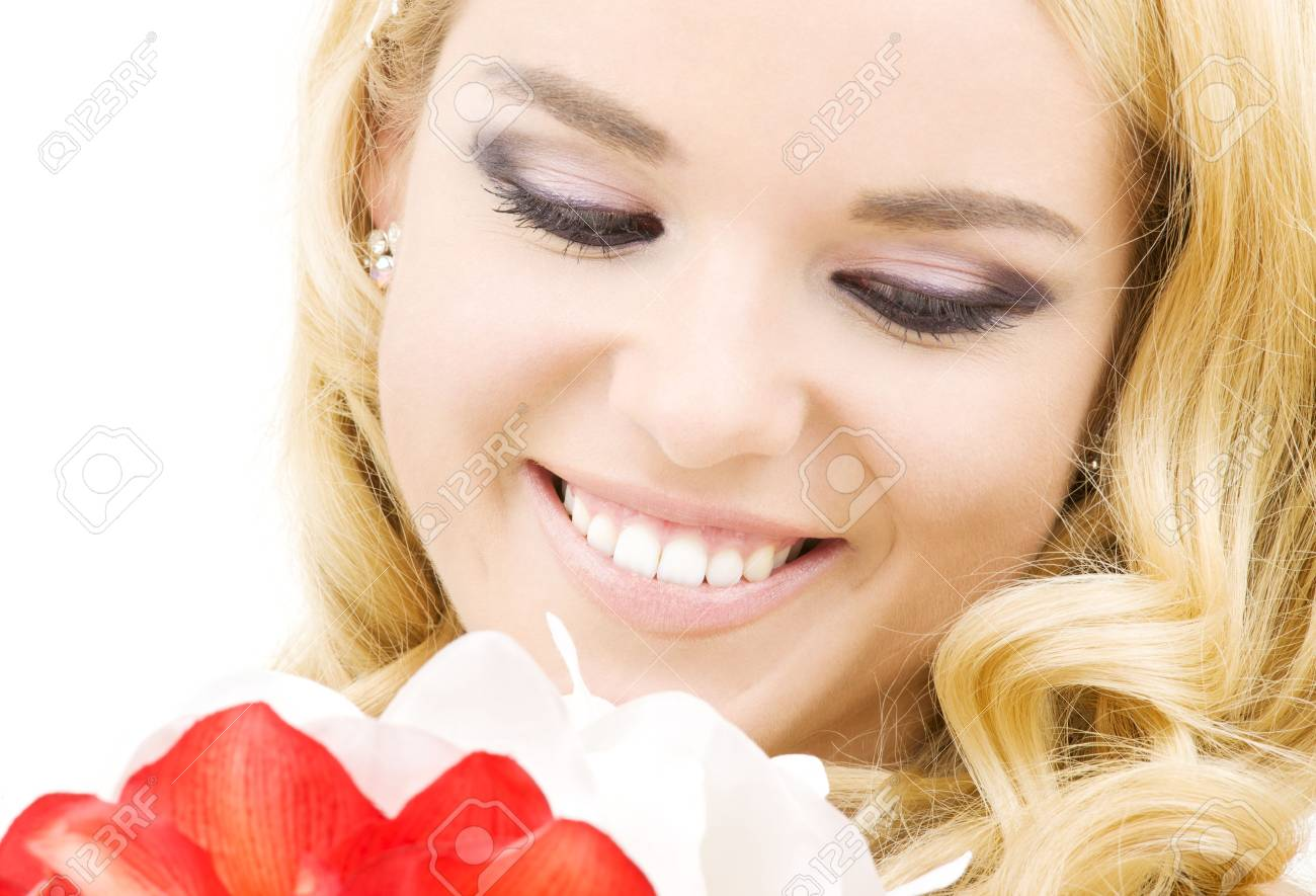 happy woman with red and white lily flowers Stock Photo - 3906328