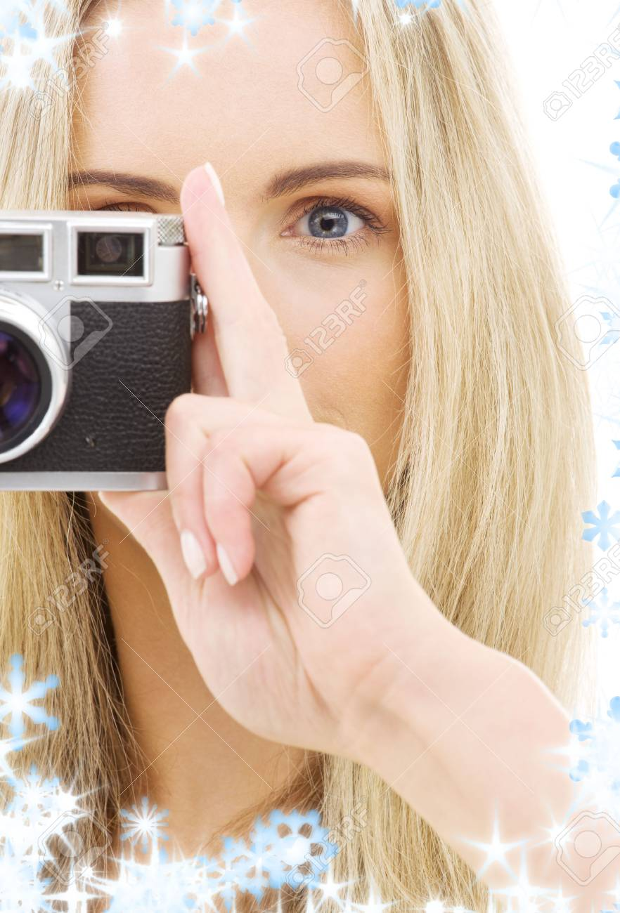 picture of lovely girl with old rangefinder camera Stock Photo - 3930167