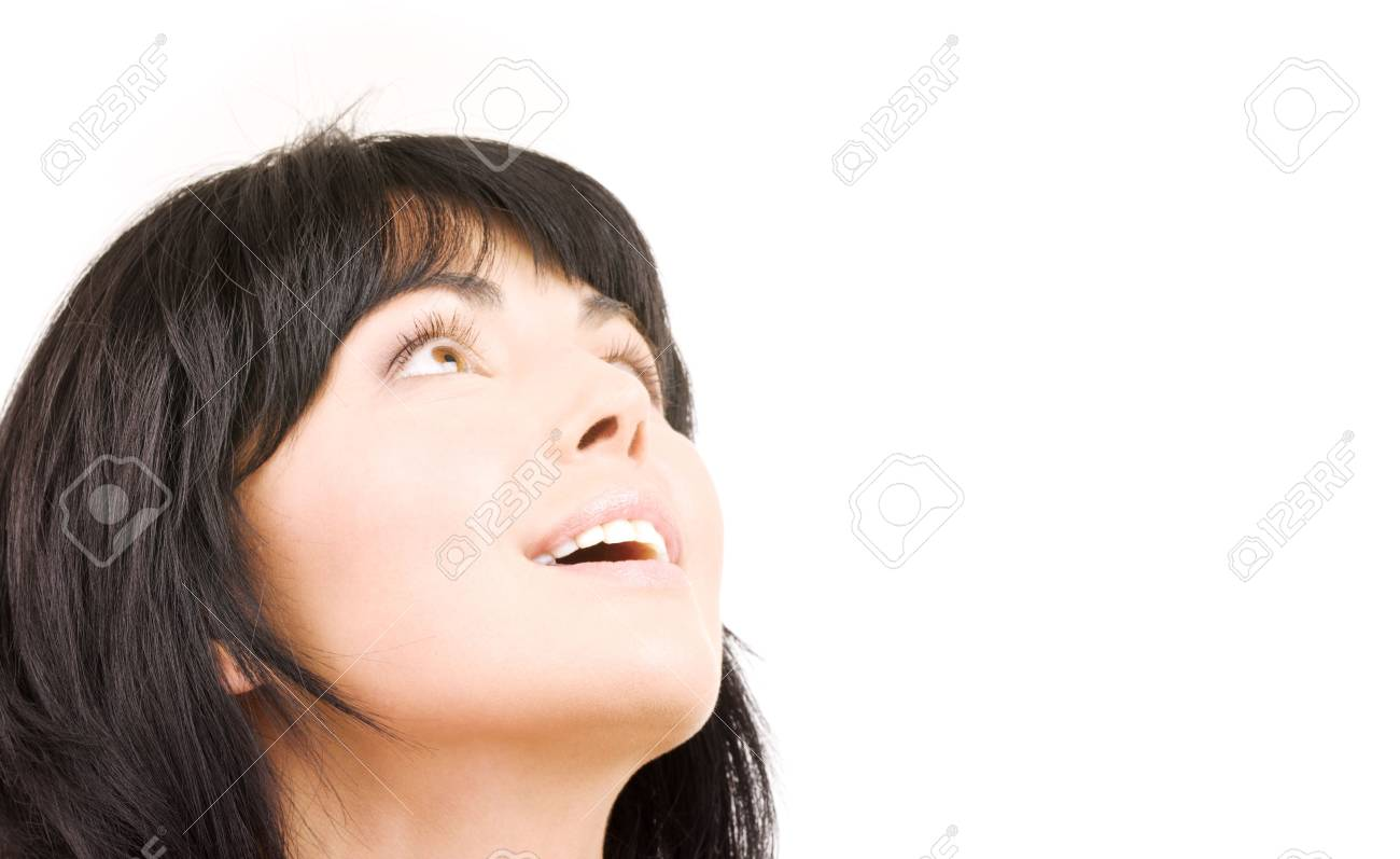 picture of happy woman looking up over white Stock Photo - 3944961