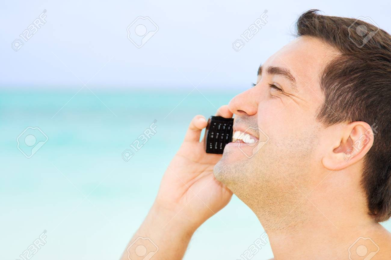 picture of happy man with cell phone Stock Photo - 4421388