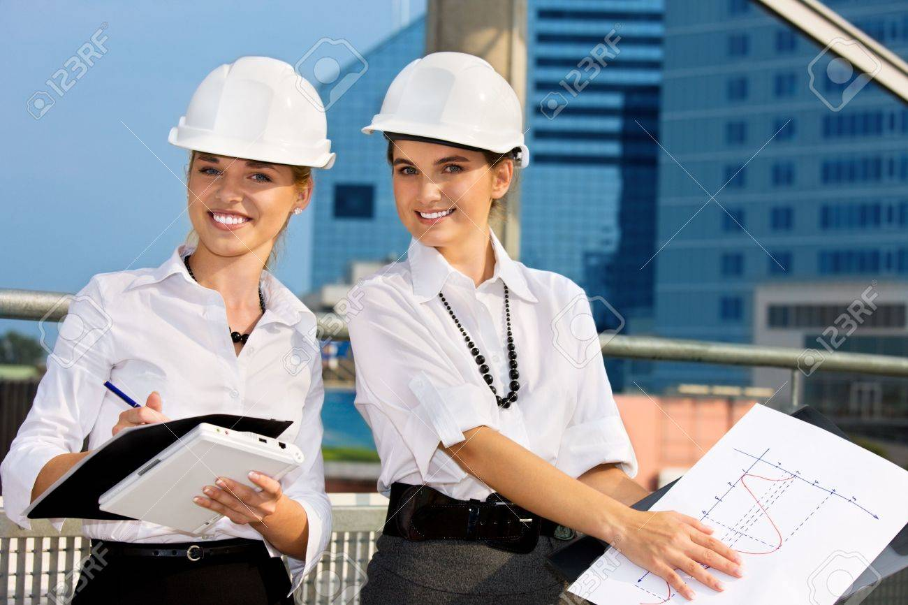 contractors in a front of building site Stock Photo - 4621000
