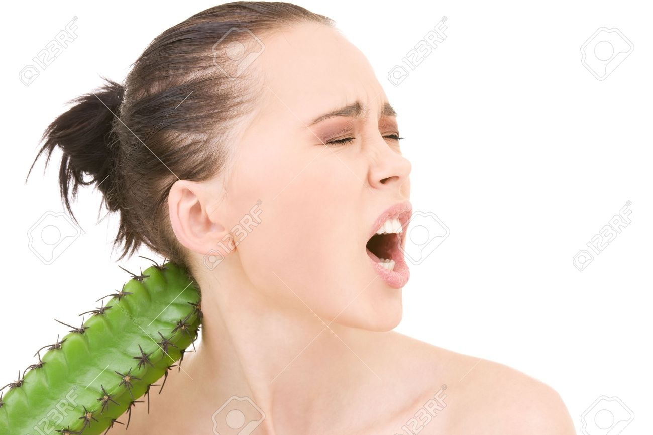 closeup portrait of screaming woman with cactus Stock Photo - 4894024