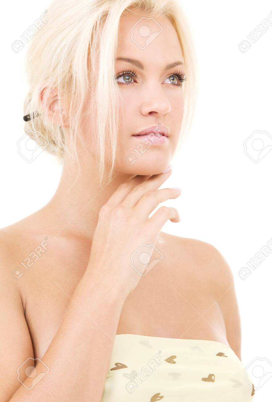 bright picture of lovely blonde over white Stock Photo - 4918258