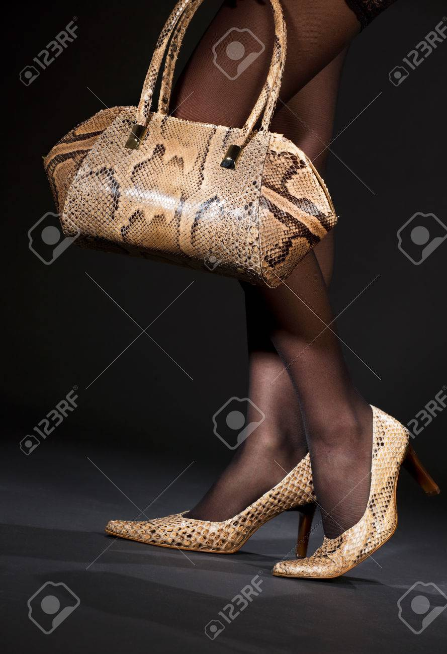 long legs in snakeskin shoes with handbag over black Stock Photo - 5197269