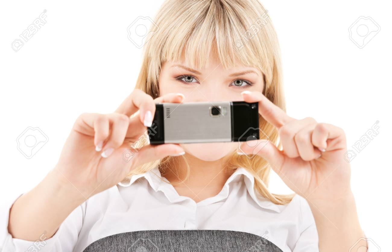 picture of happy woman using phone camera Stock Photo - 5348298