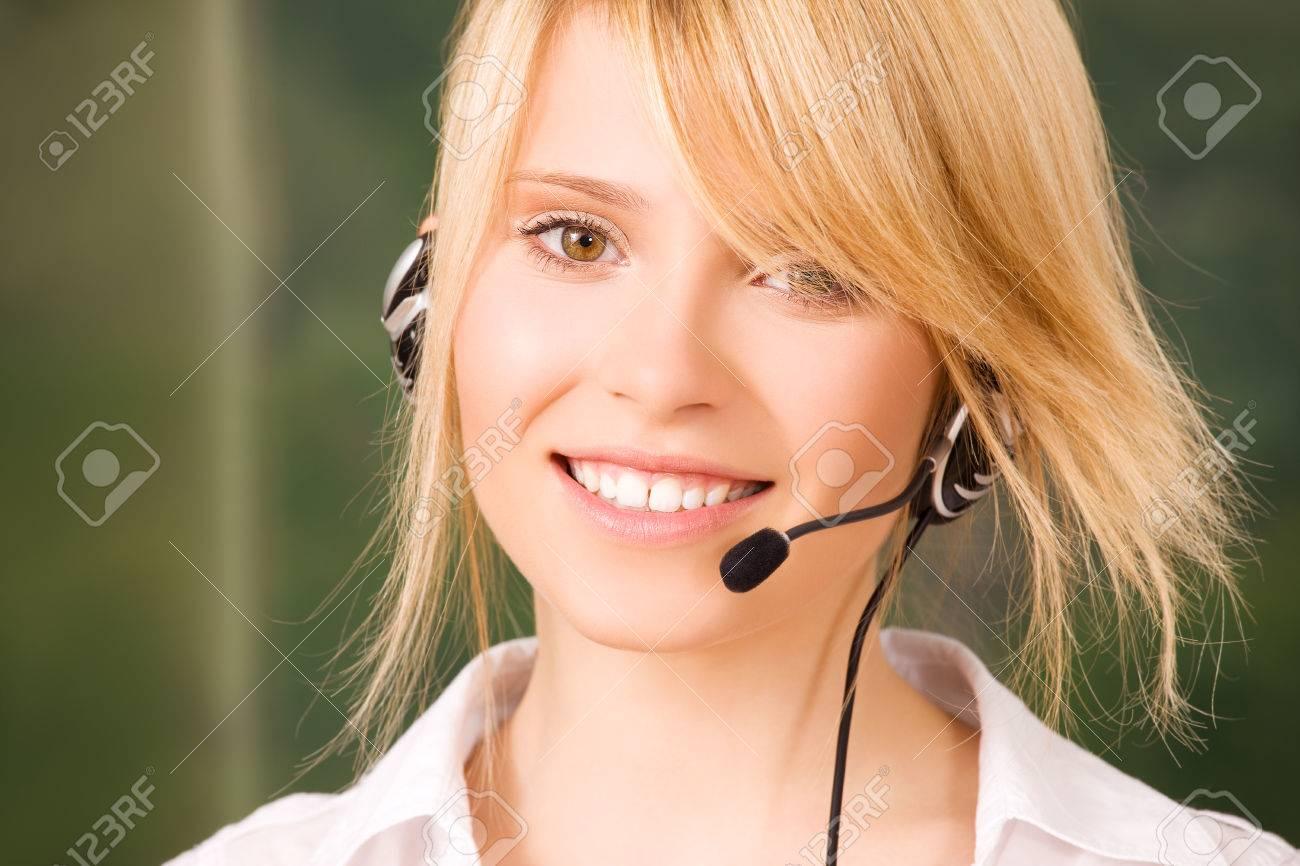 bright picture of friendly female helpline operator Stock Photo - 5685300