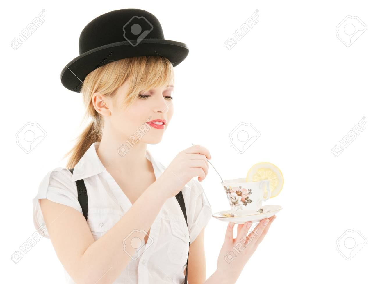 bright picture of lovely girl with cup of tea Stock Photo - 5668733