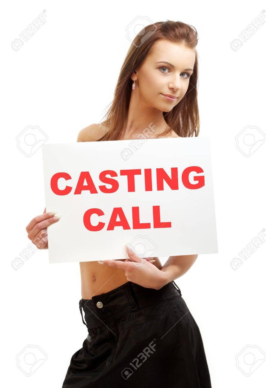 lovely girl holding casting call board over white Stock Photo - 5668664
