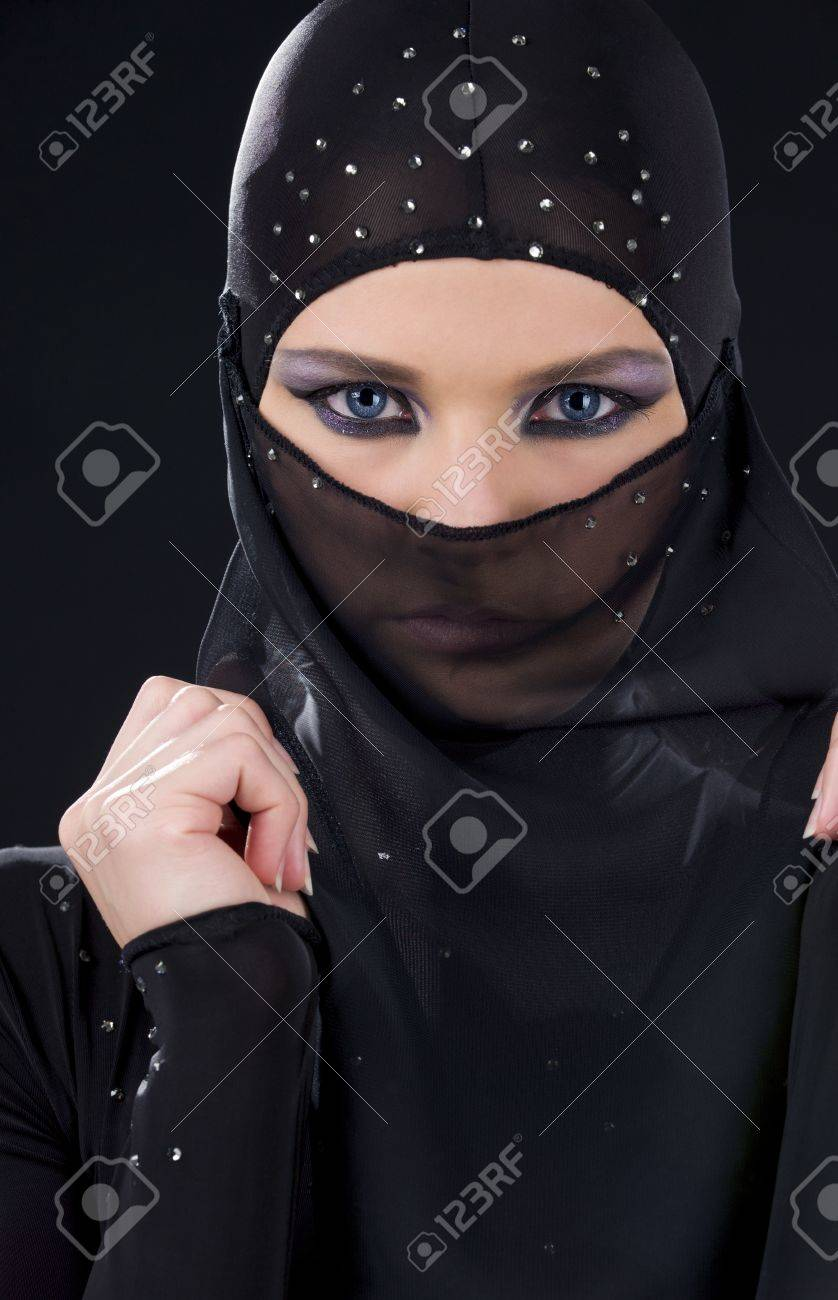 closeup picture of ninja face in the dark Stock Photo - 5685380