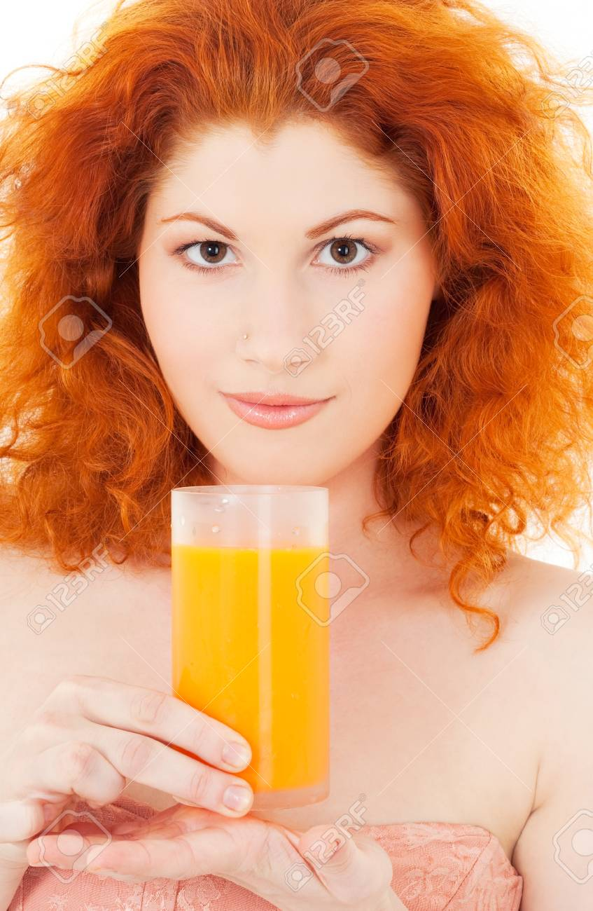 bright picture of lovely woman with glass of juice Stock Photo - 5677047
