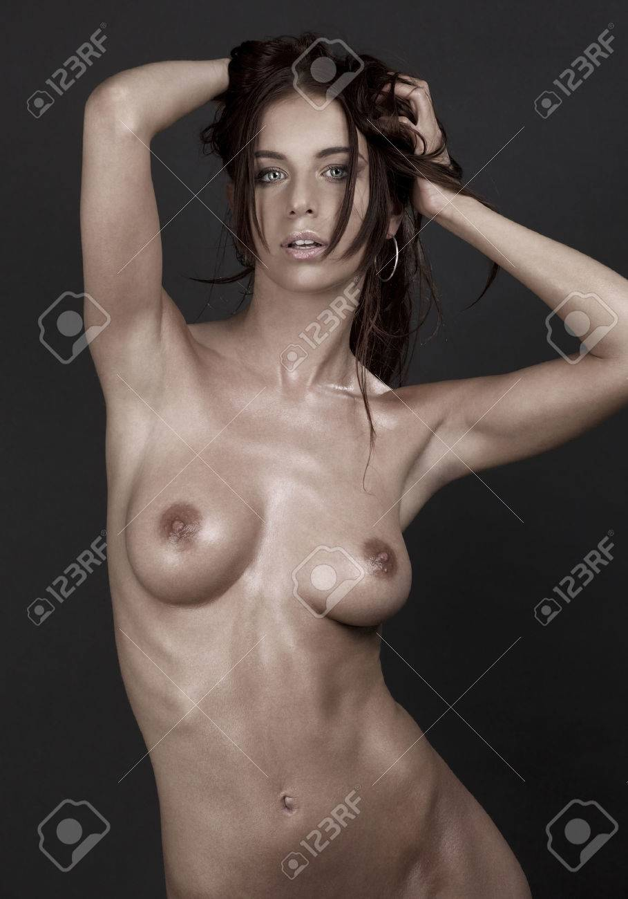 picture of beautiful naked woman over grey Stock Photo - 5677122