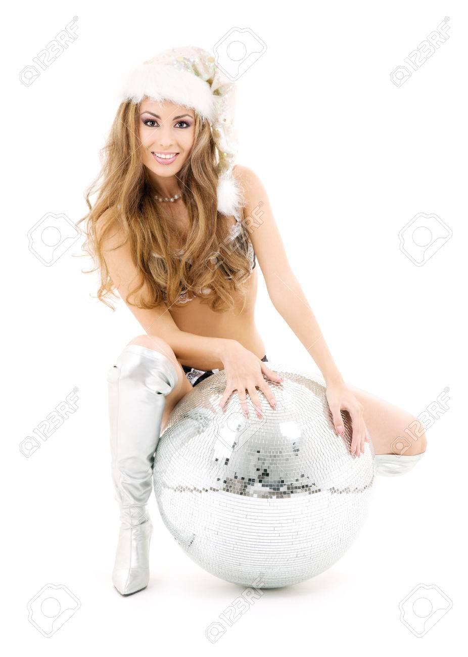 sexy santa helper with big disco ball over white Stock Photo - 5668904