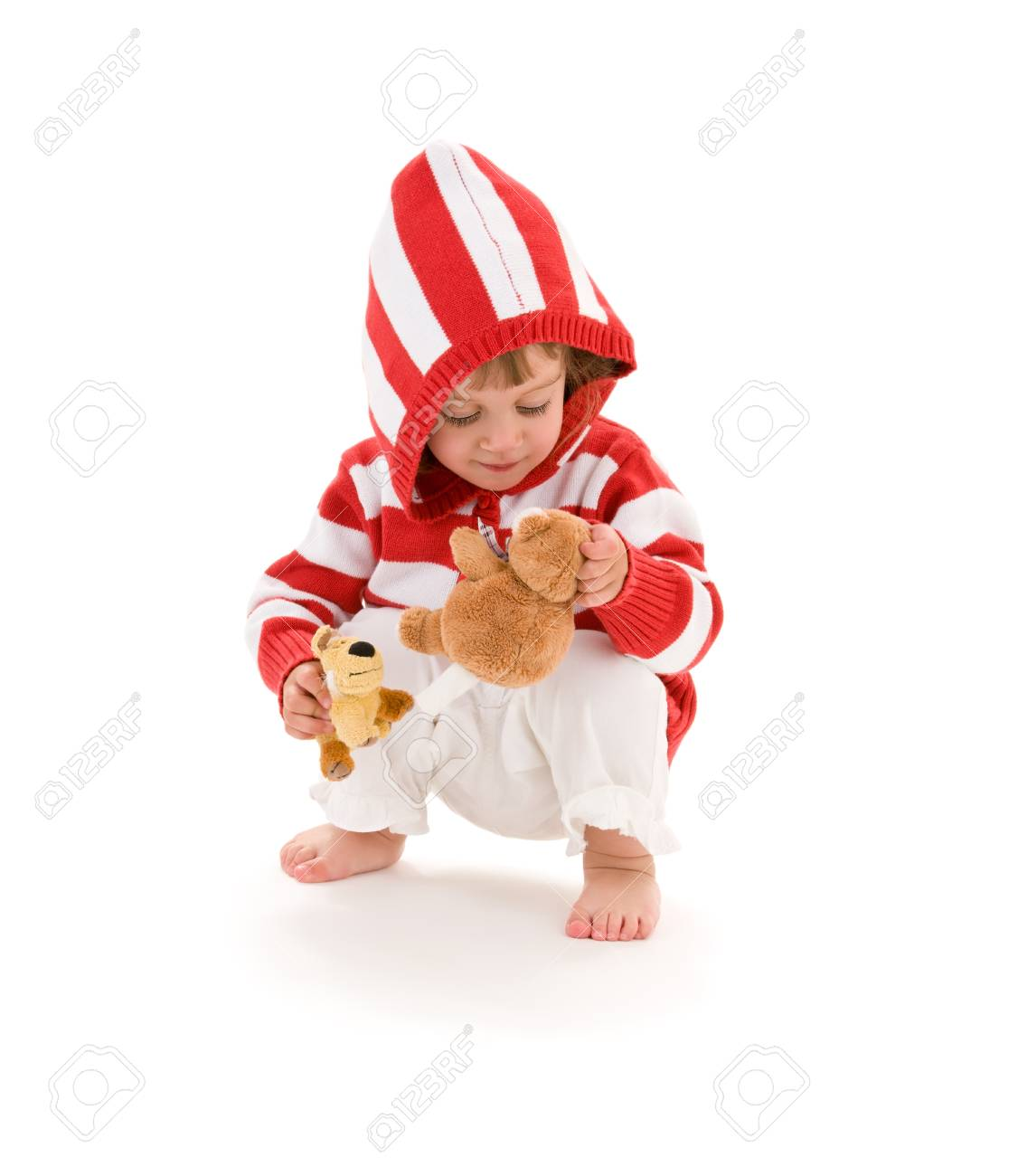 picture of little girl with plush toys over white Stock Photo - 5668703