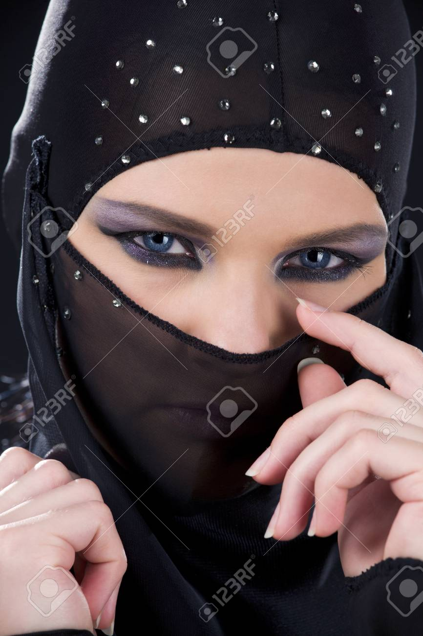 closeup picture of ninja face in the dark Stock Photo - 5685352