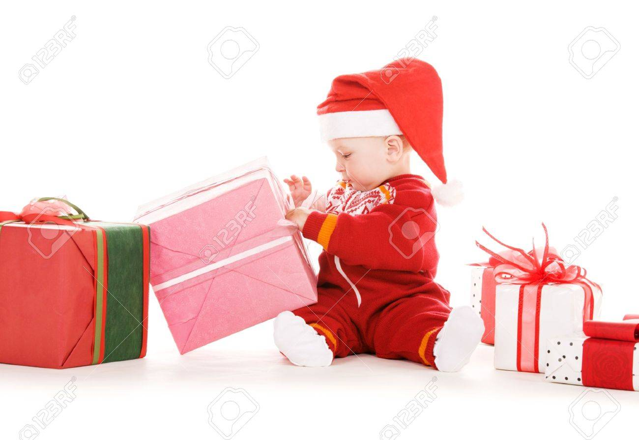 santa helper baby with christmas gifts over white Stock Photo - 5668826