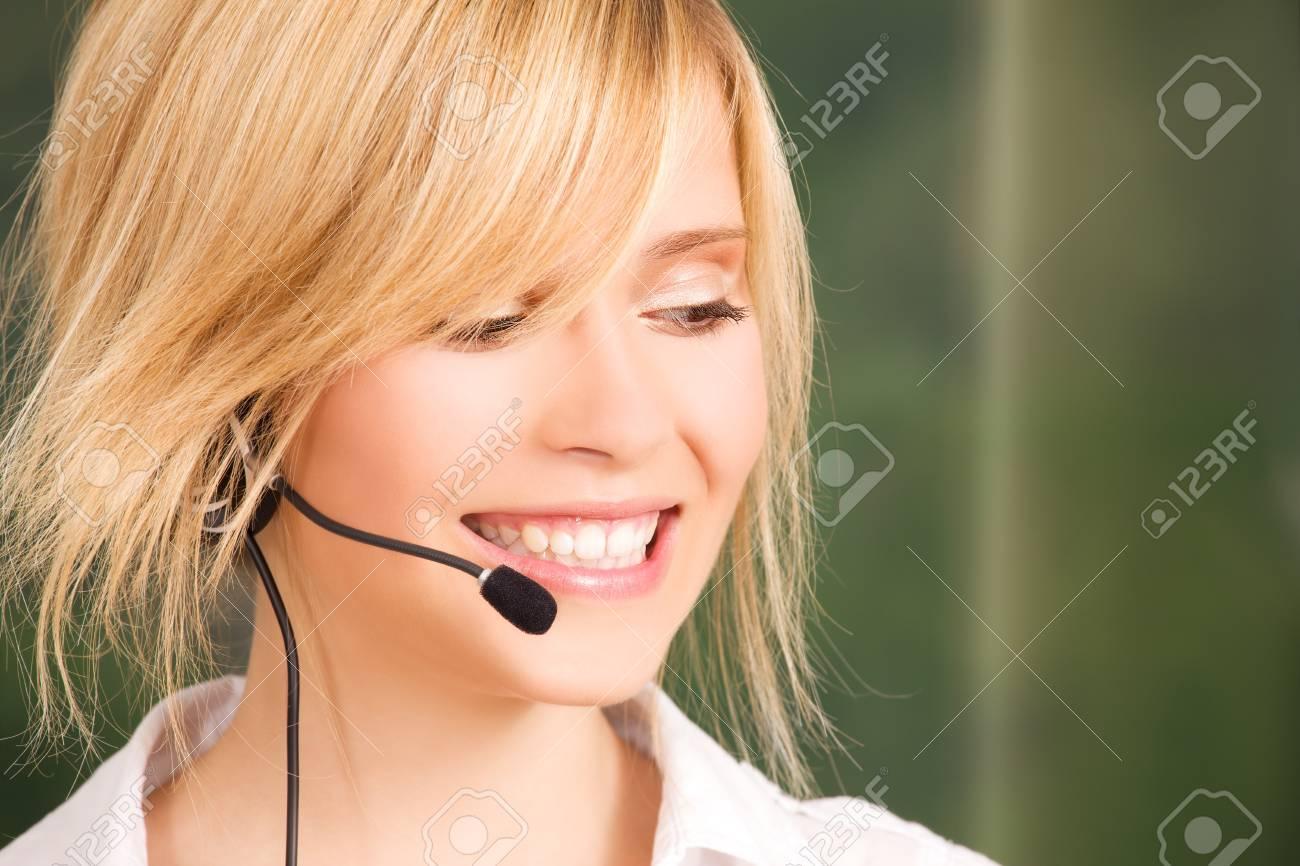 bright picture of friendly female helpline operator Stock Photo - 5685280