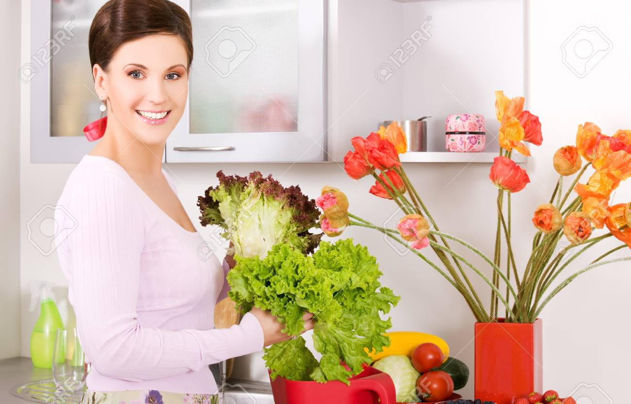 picture of beautiful woman in the kitchen Stock Photo - 5677085