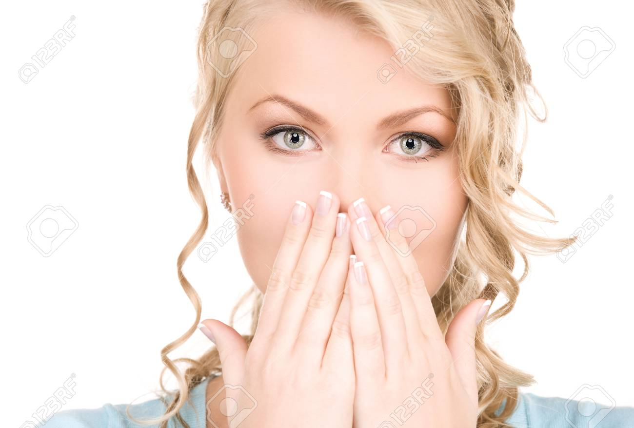 bright picture of surprised woman face over white Stock Photo - 5741474