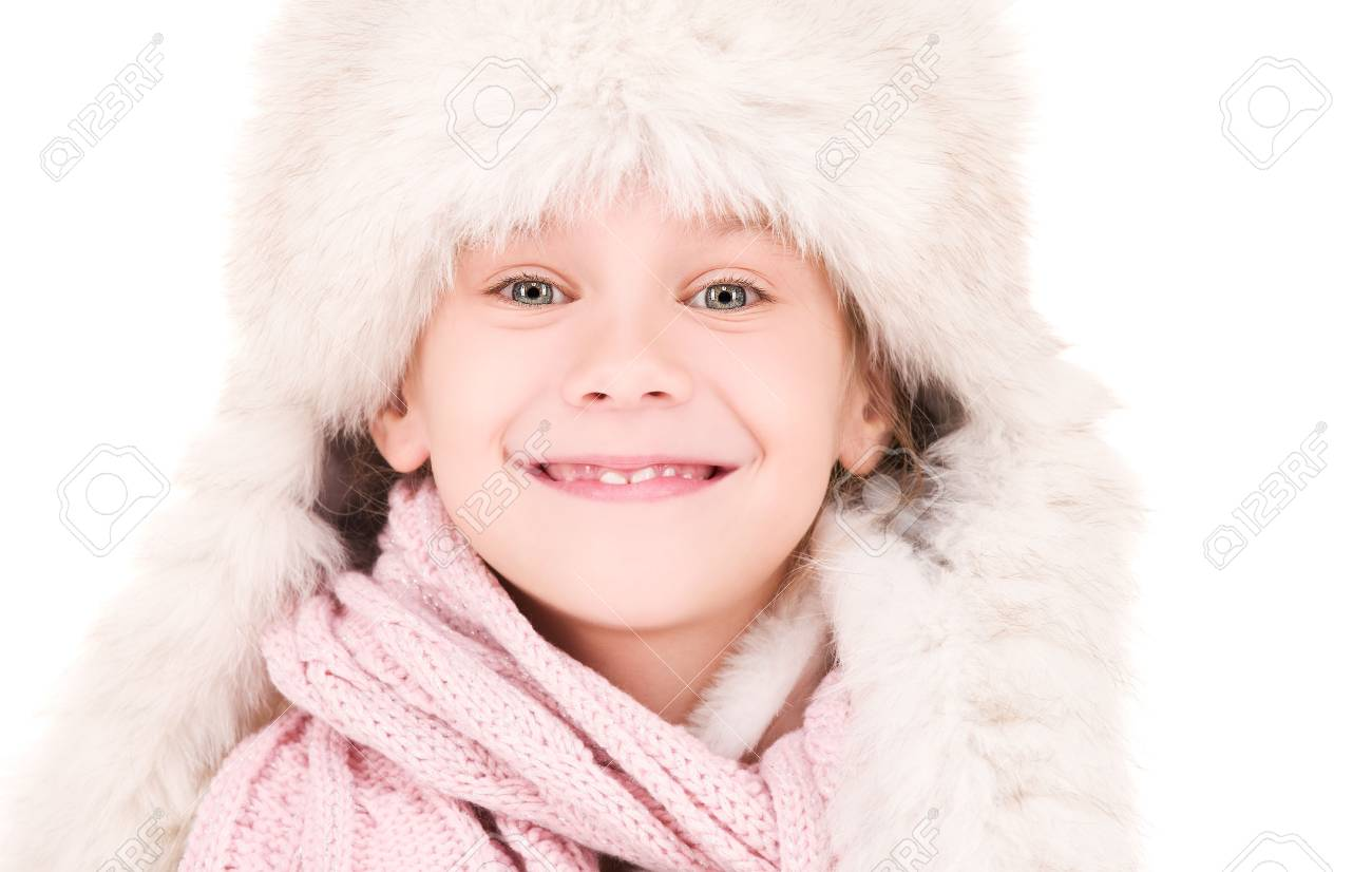 picture of happy girl in winter hat Stock Photo - 5772009