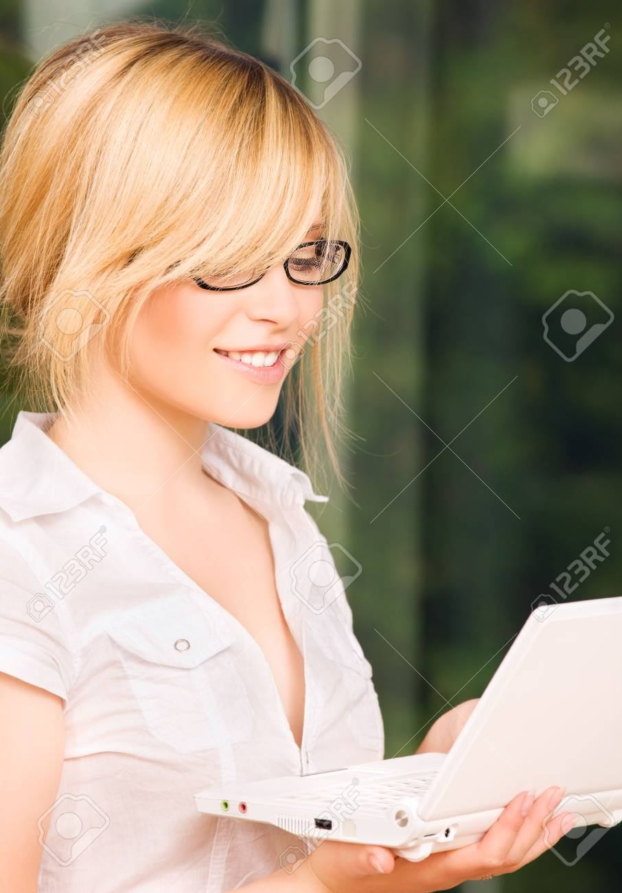 picture of office girl with laptop computer Stock Photo - 5847916